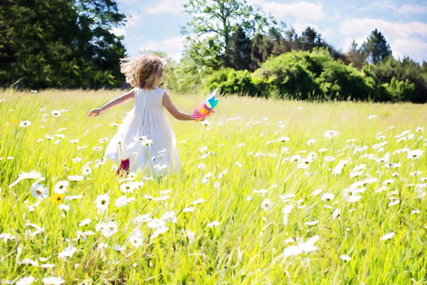 little girl, running, field, flowers, carefree, joy, joyful, wonder