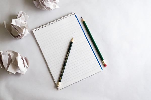 pencil, notepad, writing, drafts, stories, erasing, starting, beginning, new, paper