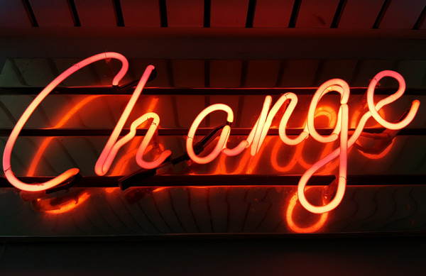 change, neon, light, sign, quote, word, consistency, habit
